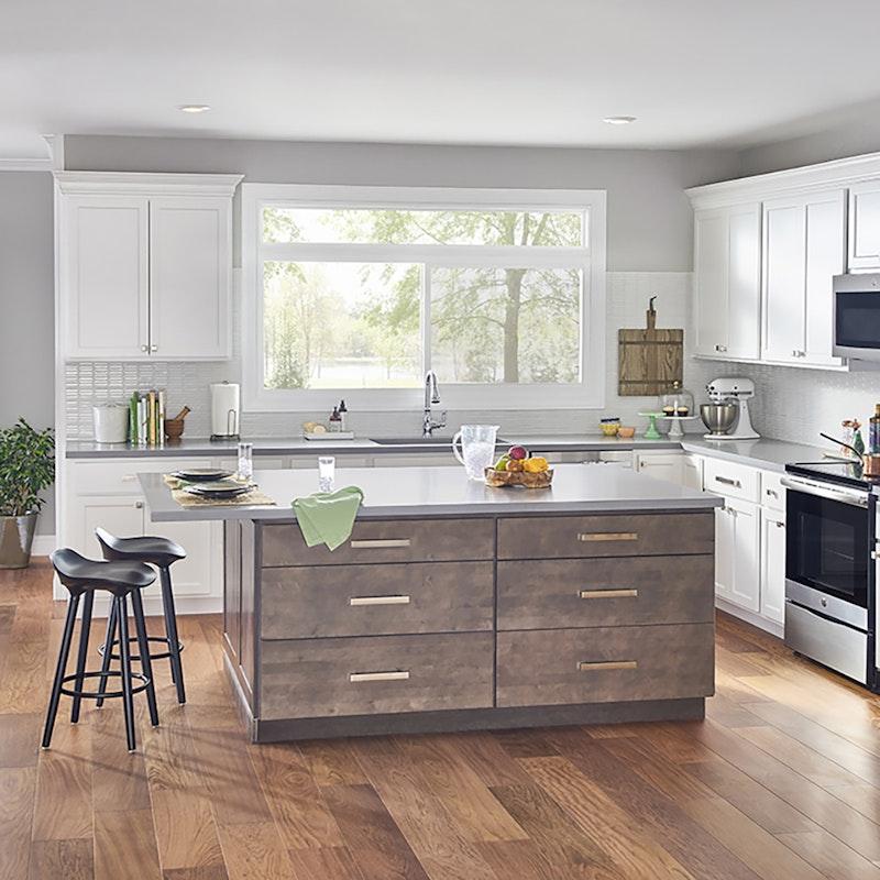 Kitchen featuring white MI picture window multi-panel configuration.