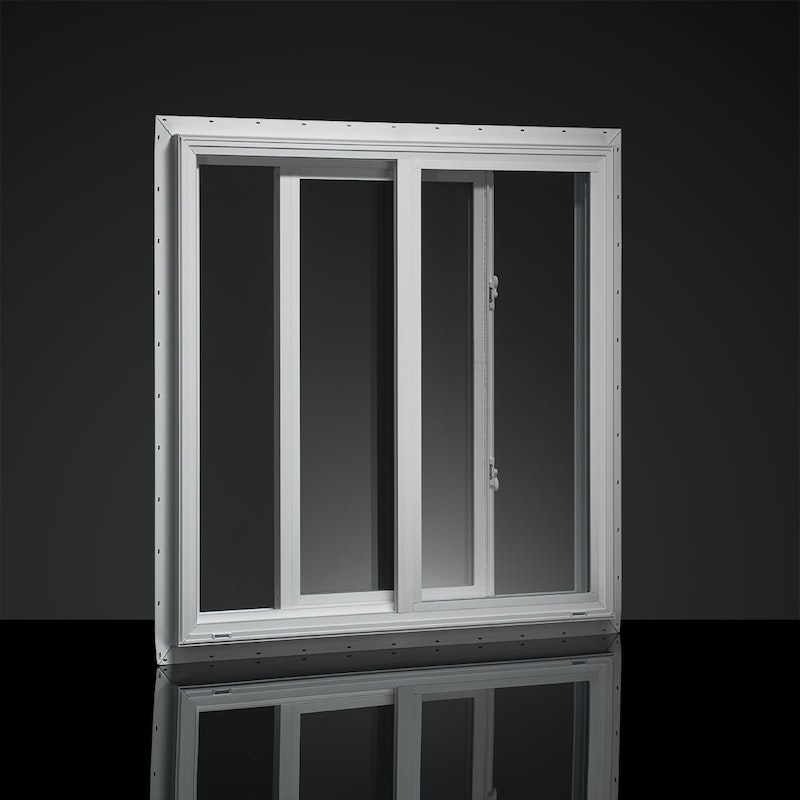 Interior of a white MI windows single slider whose sash is slightly open.