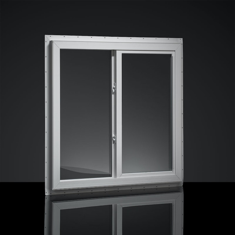 Model of the interior view of a white MI single slider window.