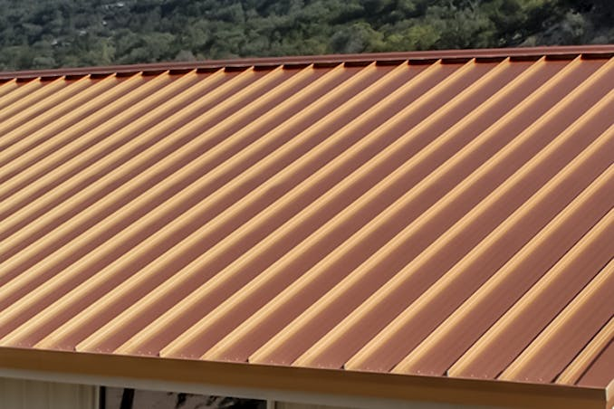 Bright copper metal roof options