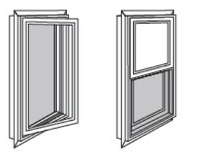 Illustrations of insect screens on casement and hung windows.