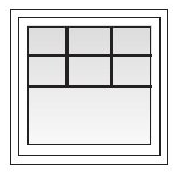 Square window with modified colonial grids.