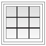 Square window with colonial grids.