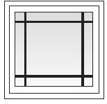 Square awning window with prairie grids.