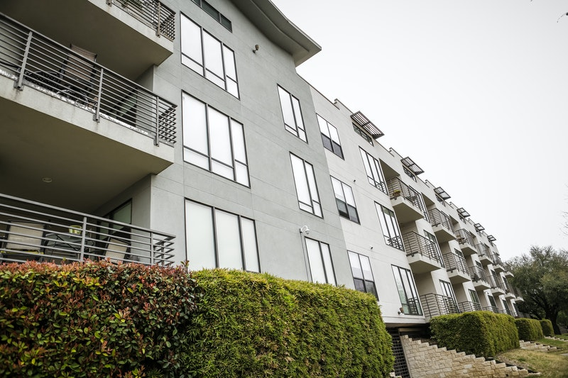 Black aluminum windows on modern apartments.