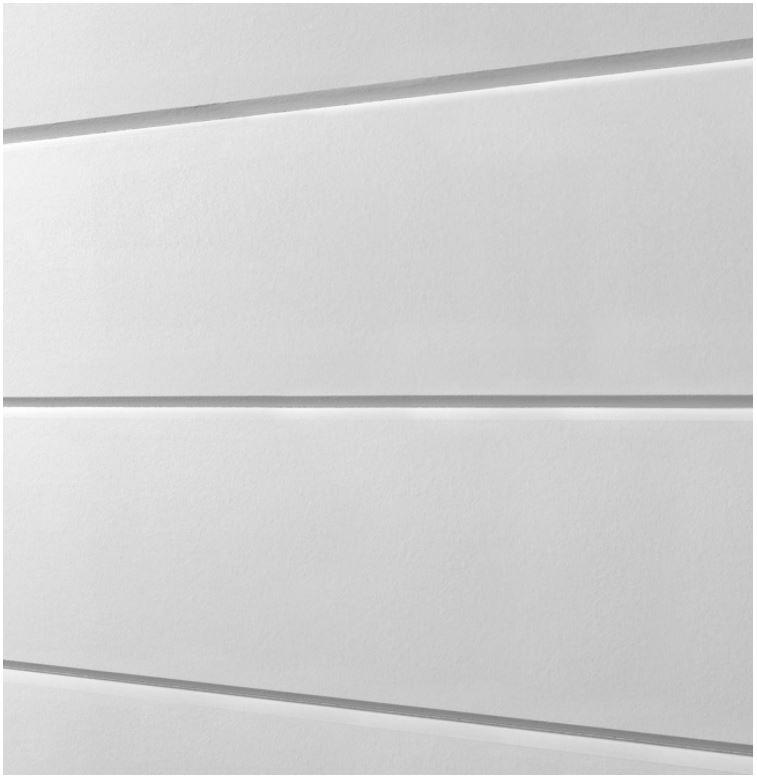 Close-up of white artisan v-groove siding.