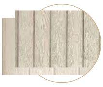 Close-up of different width cedar-texture panels