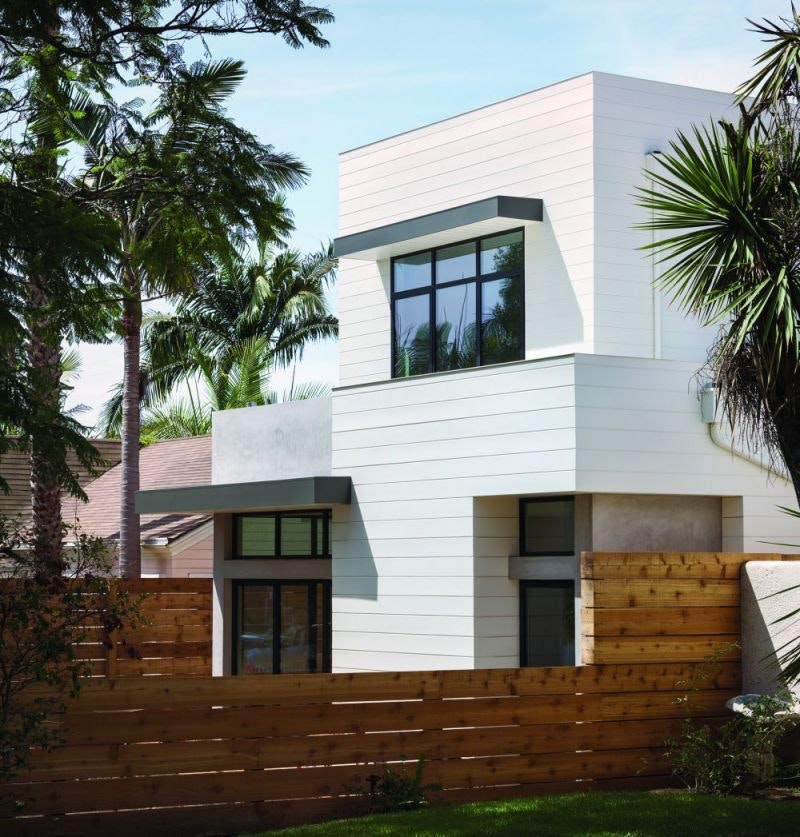 Modern house with wide white lap siding
