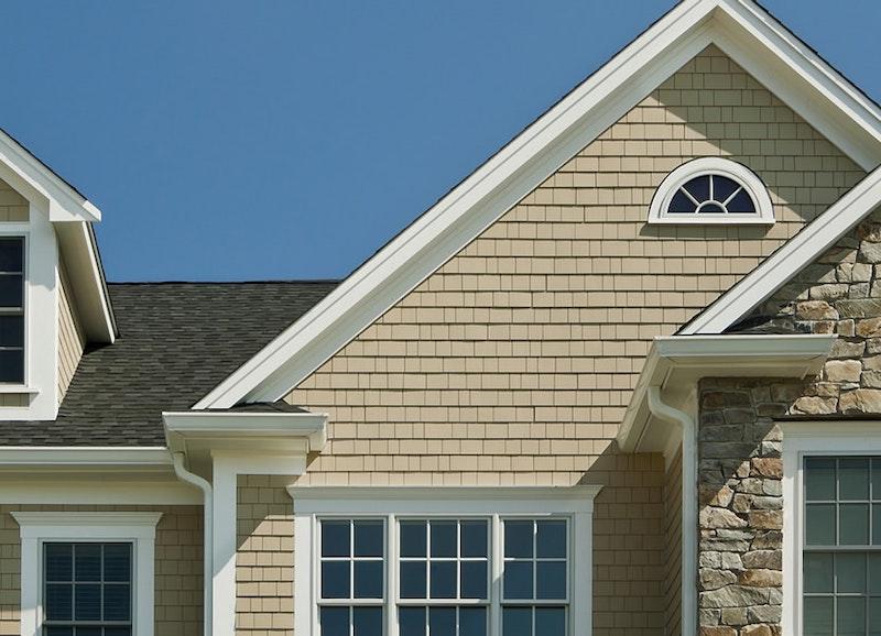 House with straight-edge shake shingles.