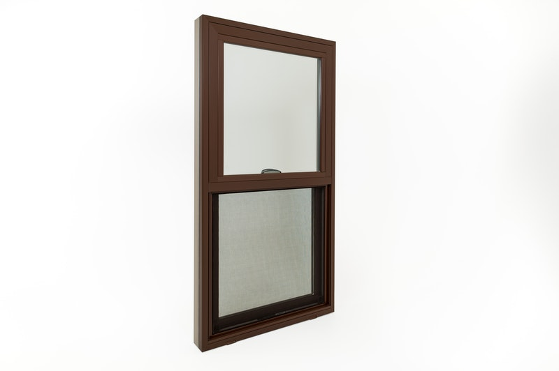 Full view of exterior of replacement window with cocoa bean finish and half screen.