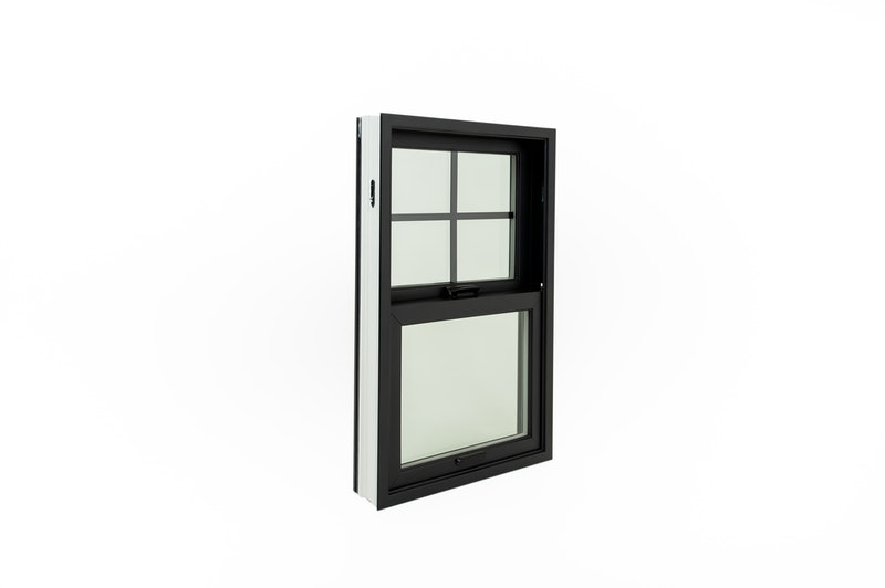 Interior view of black fiberglass single hung replacement window.