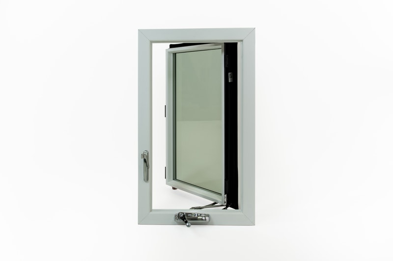 White casement window with window sash open.