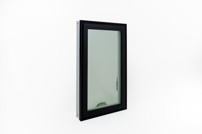 Black exterior replacement casement window.