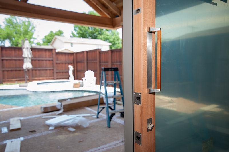 Close-up of handle and locking hardware on Centor integrated sliding door.