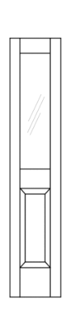 Illustration of transom with half glass on top half and beveled wood design on bottom half