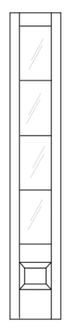 Illustration of transom with 3/4 height of glass with grids and small decorative beveled wood section at the bottom