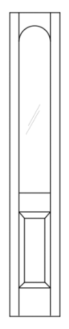 Illustration of door transom with straight top and radius top shaped glass in the center of panel, bottom 1/3 is beveled wood