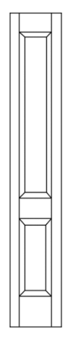 Illustration of door transom with two beveled wood sections
