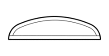 Transom design example showing flat bottom and wide round top, looks like flattened half circle
