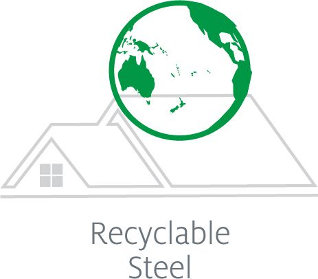 Green globe image against white background reading Tilcor metal roof tiles are made with recyclable steel to reduce waste.