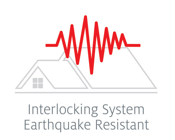 Seismic lines reflecting Tilcor steel roof tiles are installed in an interlocking system resisting earthquakes.