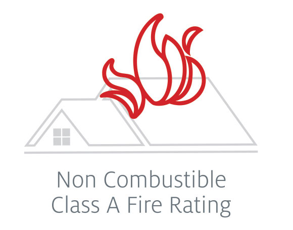 Red flames atop a roof reflecting Tilcor steel tiles are made with Class A non combustible roof material.