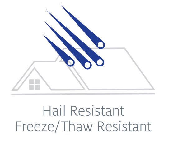 Blue streaks reflecting Tilcor steel roofing is resistant to hail damage and damage from freezing and thawing.