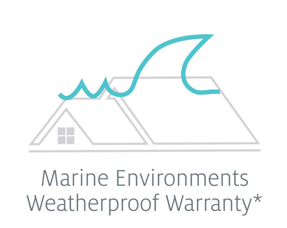 Light blue wave line to show Tilcor roofing steel tiles are offered with a weatherproof warranty.