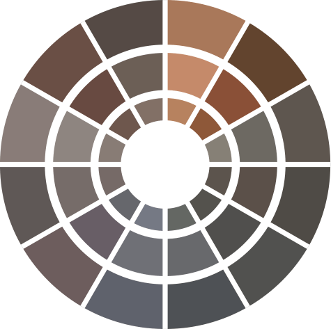 Color wheel for DaVinci Roofscapes composite roof shingles offering a wide array of shades.
