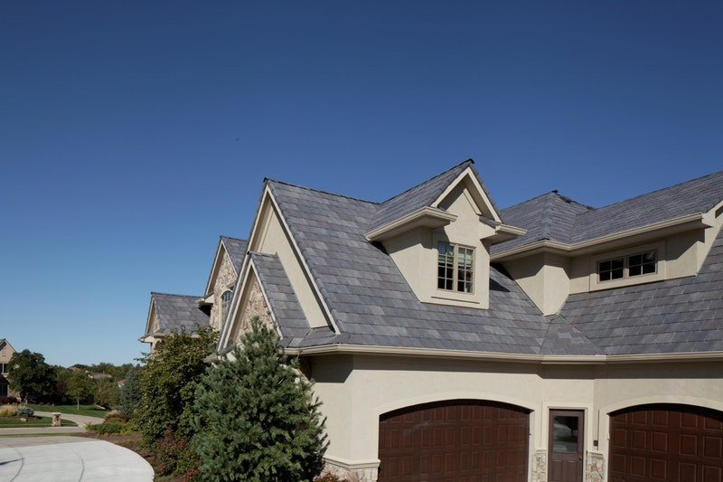 Davinci Roofscapes composite roof tiles in Bellaforte Slate European.