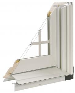 Corner cut of a white vinyl framed window with double pane glass and divided lites.