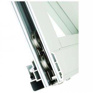Corner view of Delrin rollers for sliding window frames