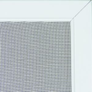Corner section of fiberglass mesh window screen and white frame.