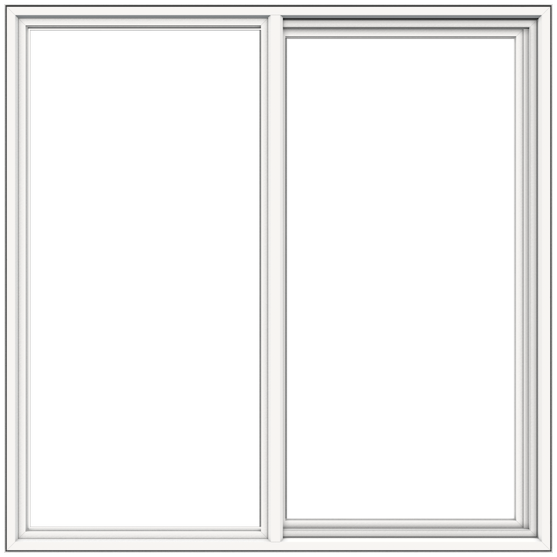 Exterior view of sliding window in white frame with white background.