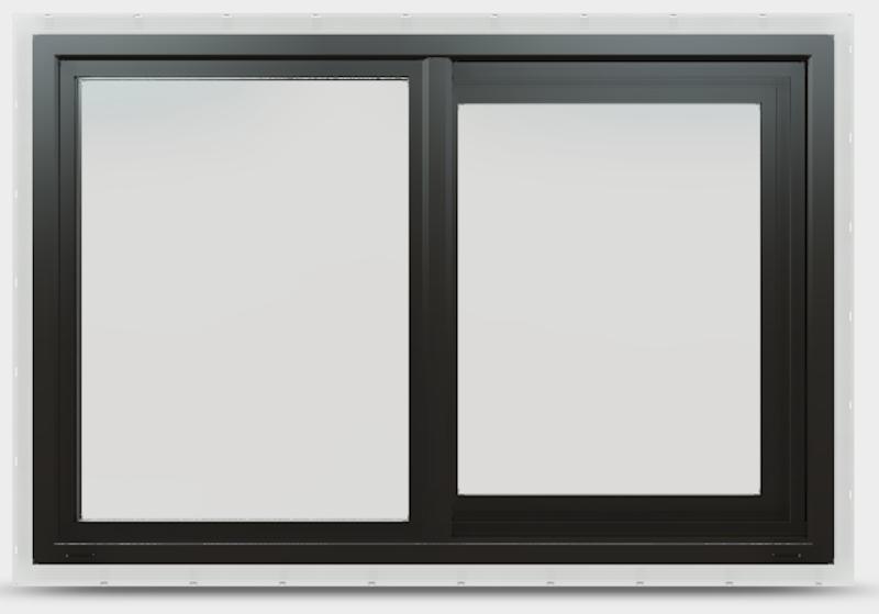 Black vinyl sliding window with no grille.