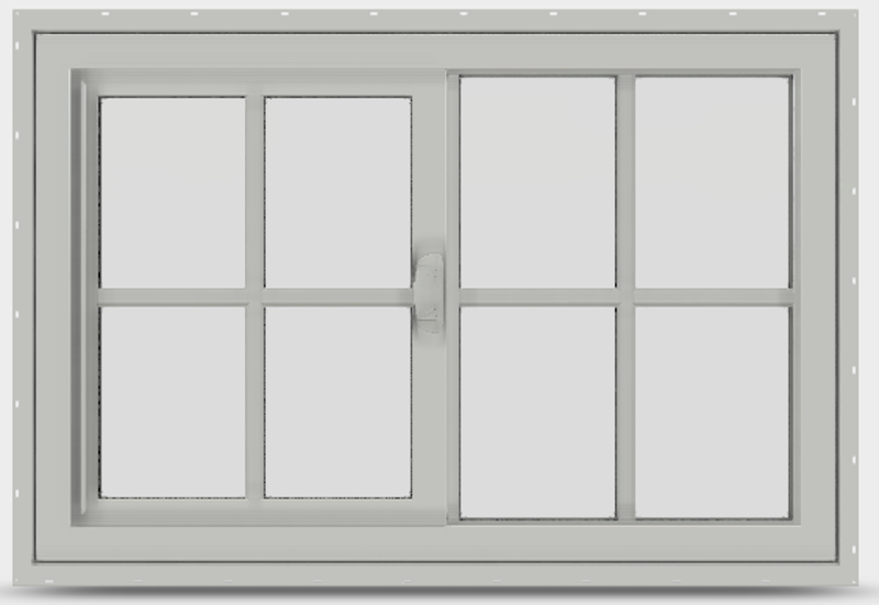 Interior of a white sliding window with a visible lock in white finish.