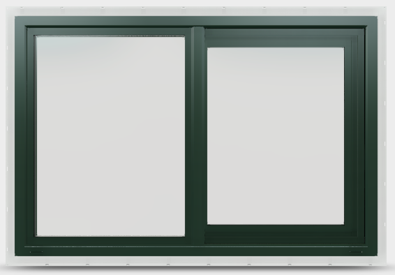 Sliding vinyl window in hartford green without grilles.
