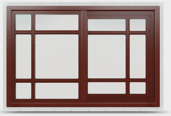 Sliding vinyl window in mesa red with prairie grilles.