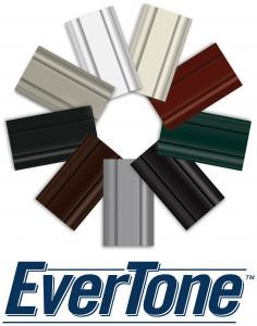 Jeld-Wen EverTone logo featuring a wheel of window frame pieces in nine colors.