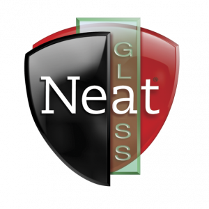 Black, red, and green logo for neat glass with white text.
