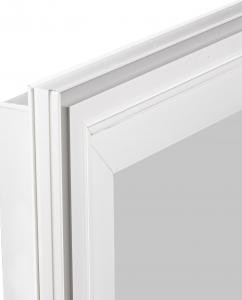 White Retrofit Brickmould Accessory window frame corner.