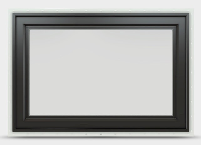 Jeld Wen Premium Vinyl Awning window with black frame and no between the glass grille.