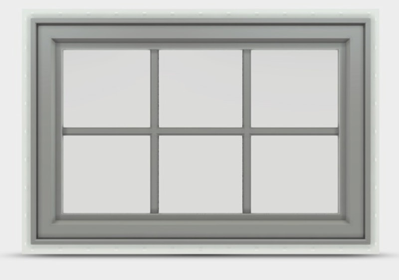 Jeld Wen Premium Vinyl Awning window with arctic silver frame and colonial grilles.