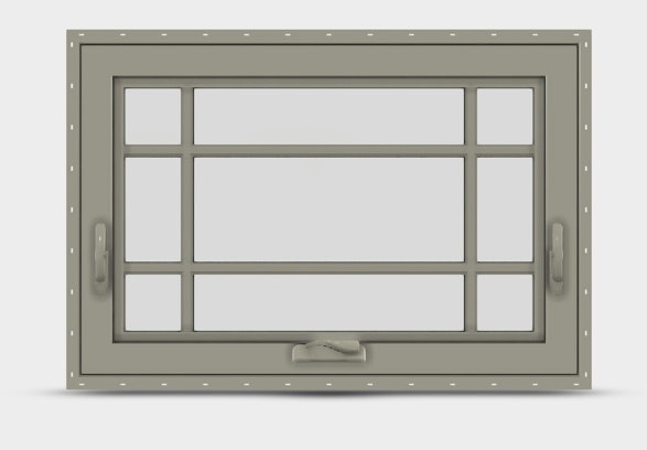 Interior view of Jeld Wen Premium Vinyl Awning window with desert sand frame and prairie grille.