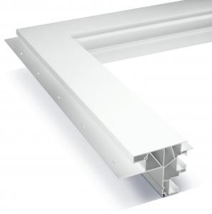 Portion of a integral flat casing frame in white.