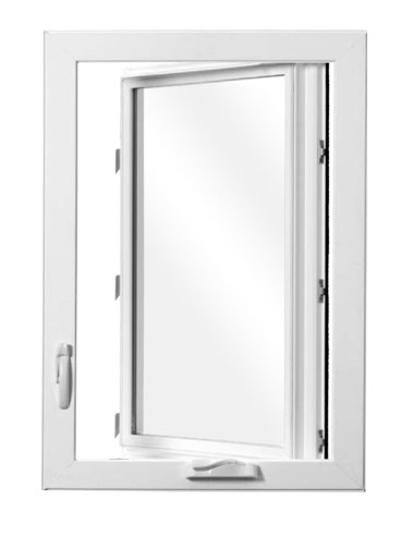 Interior view of Jeld Wen Premium Vinyl Casement window with white frame and no grille.