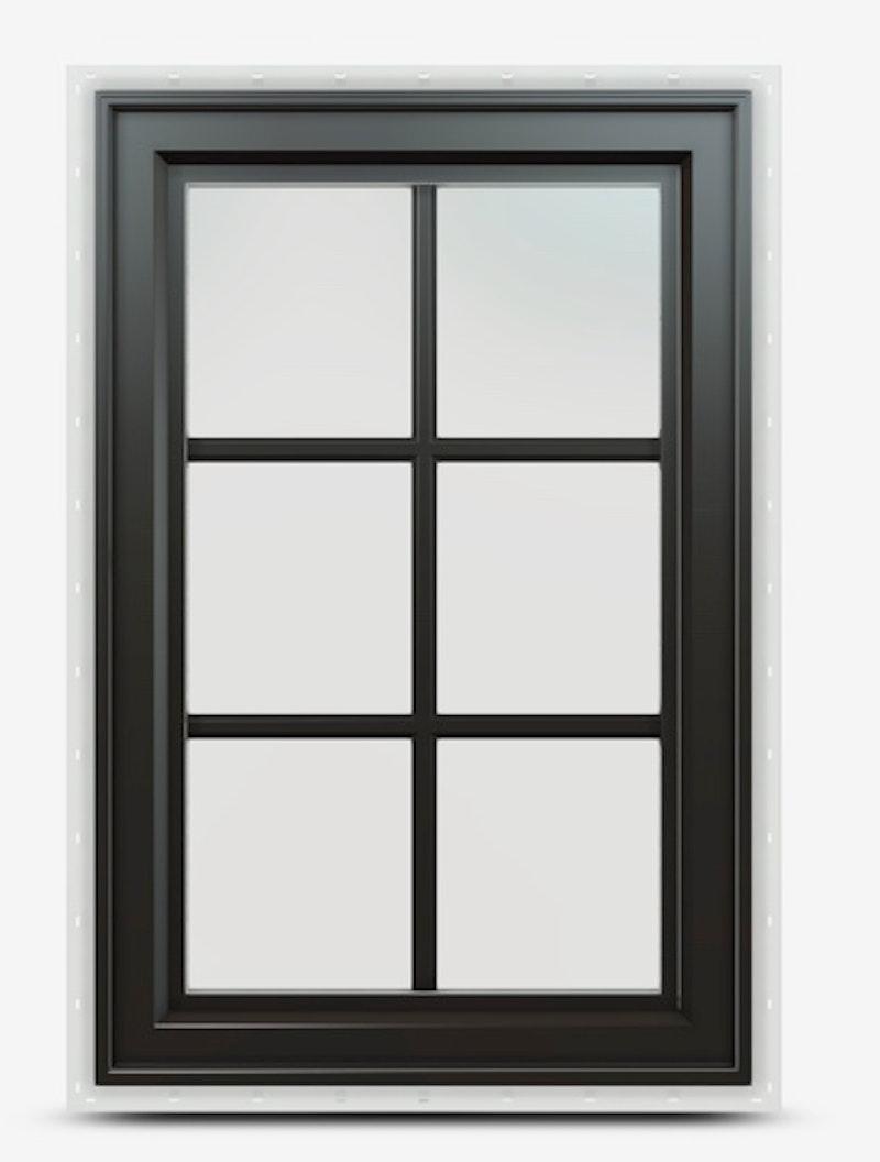 Jeld-Wen Premium Vinyl Casement Windows in black with colonial grille.