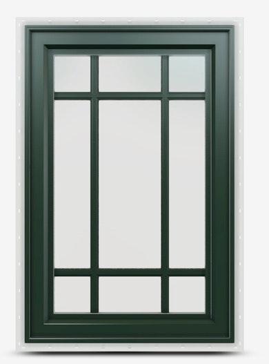 Jeld-Wen Premium Vinyl Casement Windows in Hartford Green with prairie grille.
