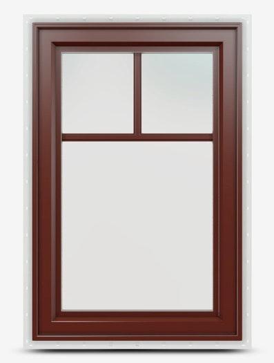 Jeld-Wen Premium Vinyl Casement Windows in mesa red with top down grille.