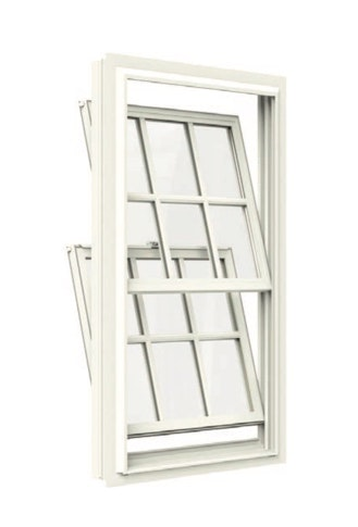 Jeld Wen Premium Vinyl Double Hung in white with colonial grilles and both tilt sashes open.